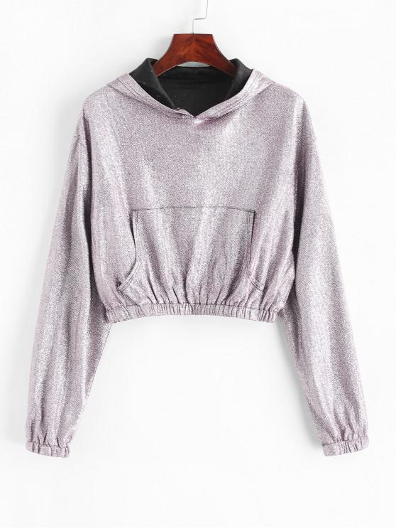 trendy Cropped Metallic Thread Glittery Front Pocket Hoodie - MAUVE L