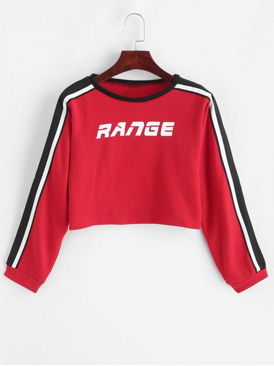 affordable Range Graphic Stripes Panel Cropped Sweatshirt - RED M