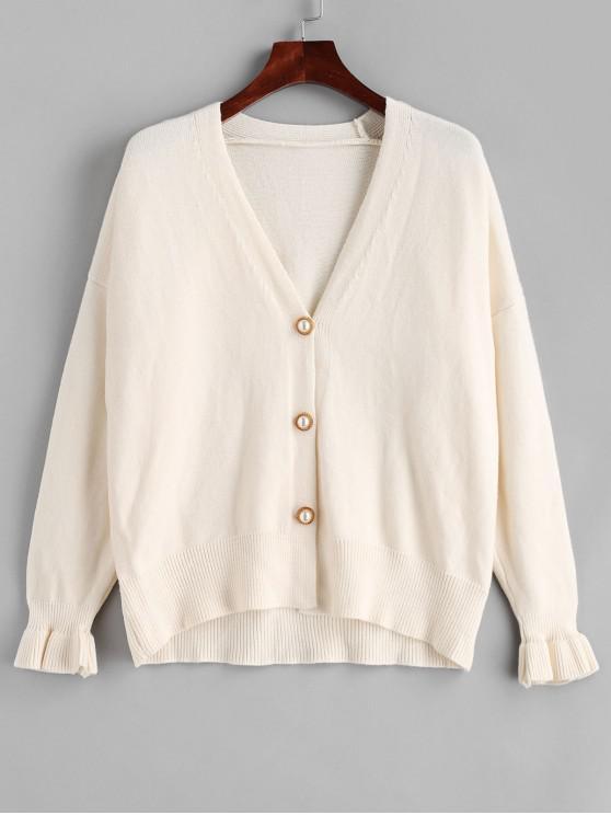 Cárdigan con cuello en V y manga perla con volantes - Blanco Cálido Talla única