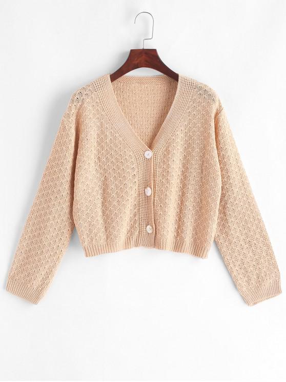online Open Knit Button Up V Neck Cardigan - LIGHT KHAKI ONE SIZE