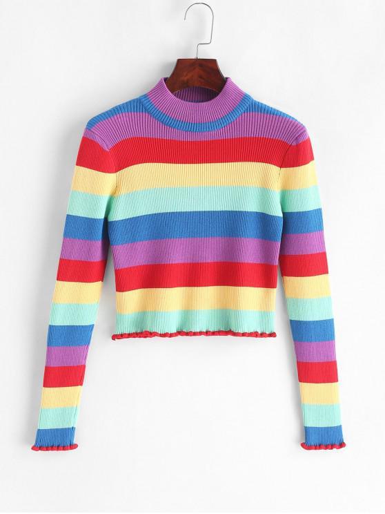 Maglione a righe arcobaleno a coste con collo finto - Multi Colori Taglia unica