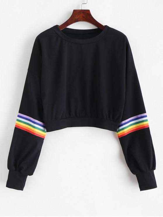 chic Rainbow Striped Patched Lantern Sleeves Crop Sweatshirt - BLACK XL