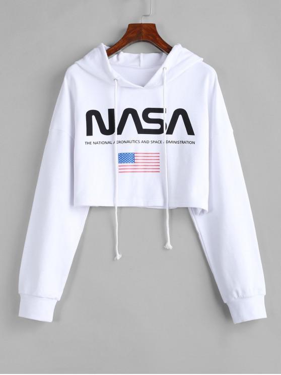 best ZAFUL Drawstring American Flag Cropped Hoodie - WHITE L