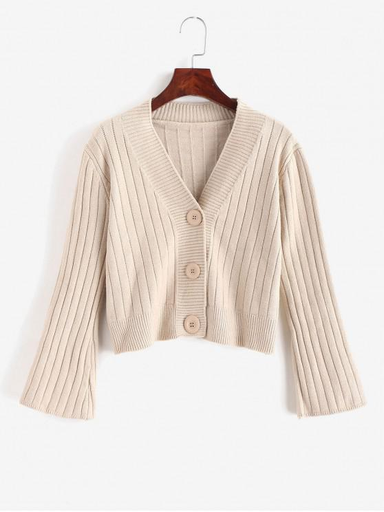 hot Button Up Crop Solid Cardigan - TAN ONE SIZE