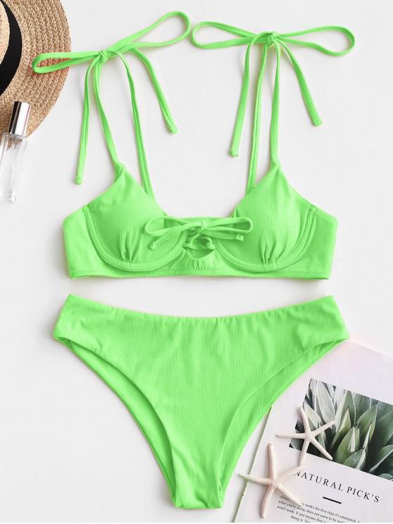 outfit ZAFUL Tie Ribbed Underwire Bikini Swimsuit - JADE GREEN S