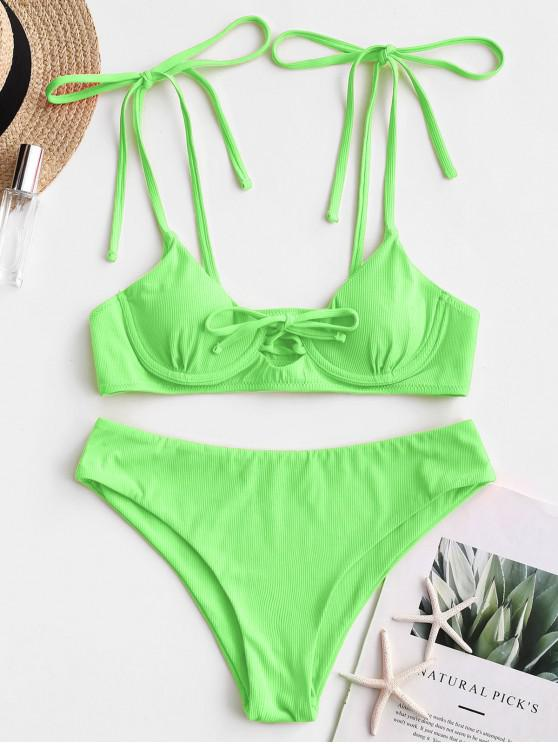 latest ZAFUL Tie Ribbed Underwire Bikini Swimsuit - JADE GREEN M