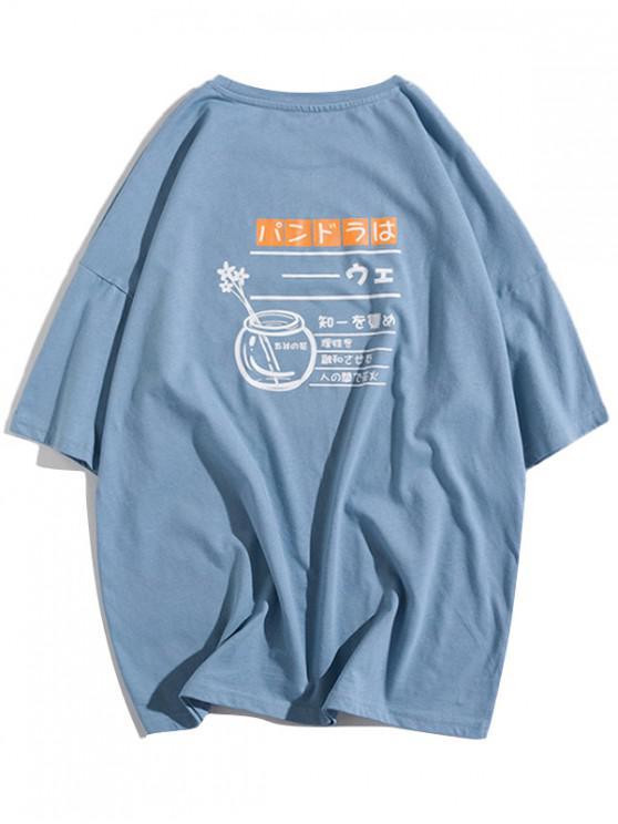 womens Flower Bottle Letter Graphic Print Drop Shoulder T-shirt - BABY BLUE L