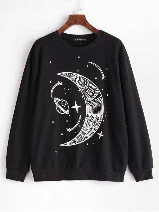 fancy ZAFUL Moon Planet Graphic Loose Sweatshirt - BLACK XL