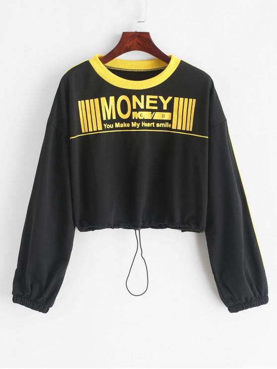 outfit Drawstring Cropped Slogan Graphic Sweatshirt - BLACK L