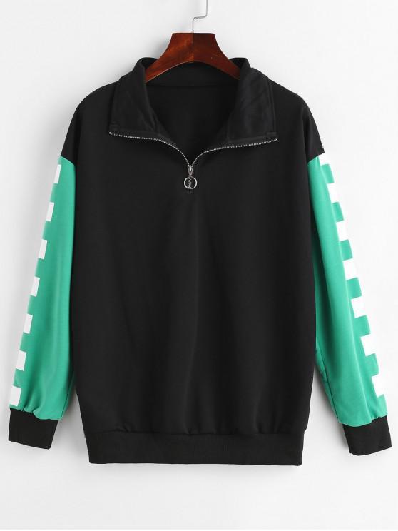 Sweatshirt en Blocs de Couleurs à Demi-Zip - Noir L