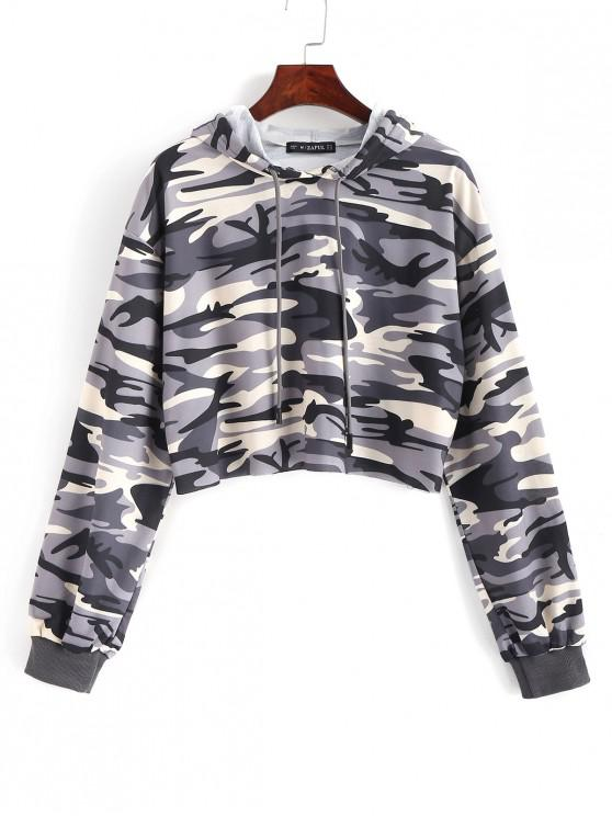 latest ZAFUL Camouflage Crop Drawstring Hoodie - ACU CAMOUFLAGE XL
