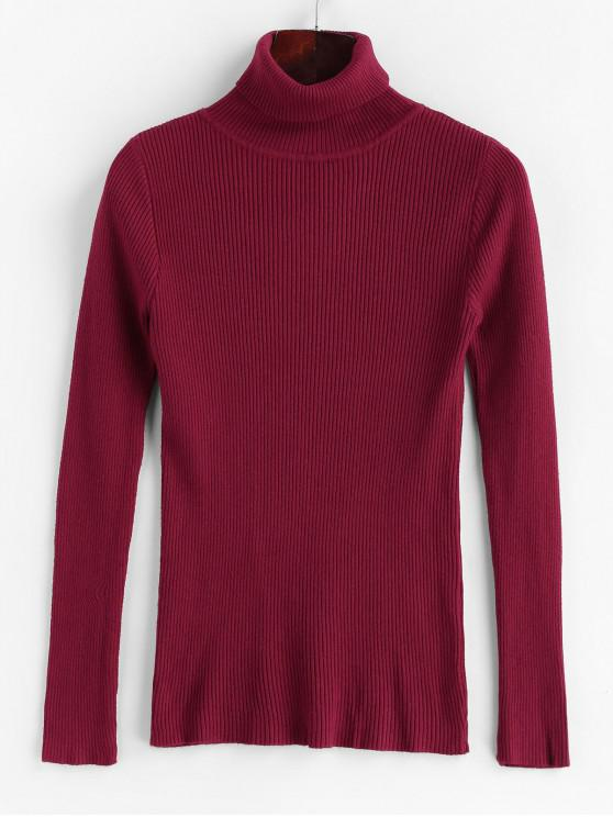 shops Slim Turtleneck Ribbed Pullover Sweater - LAVA RED ONE SIZE