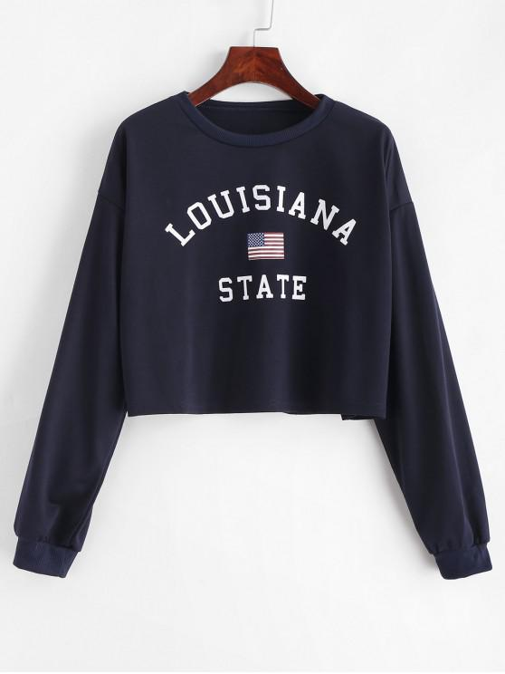 lady American Flag Letter Graphic Crop Sweatshirt - DARK SLATE BLUE M