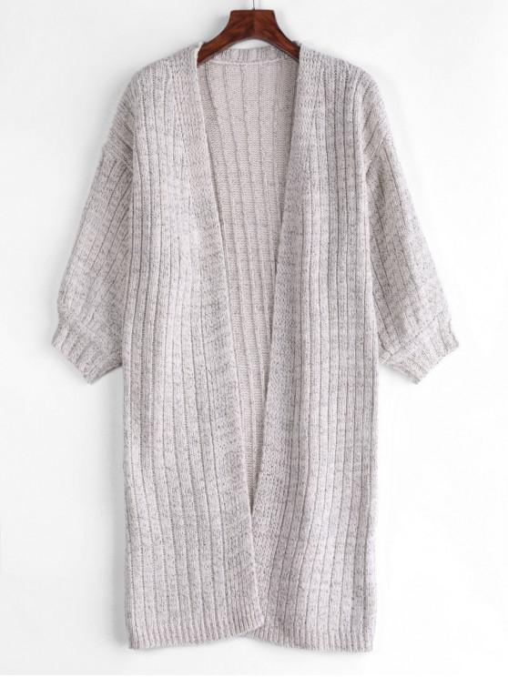 shop Longline Heathered Open Front Cardigan - GRAY GOOSE ONE SIZE