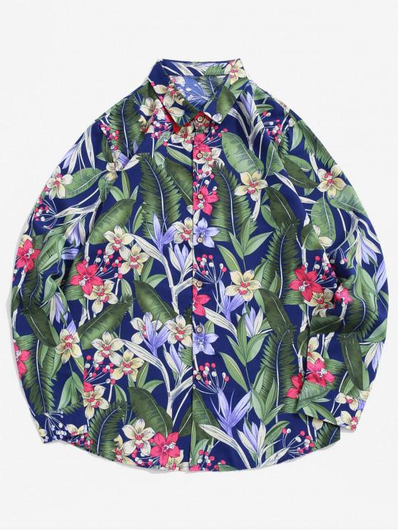 fashion Plant Flower Print Long Sleeve Button Vacation Shirt - MULTI-B L