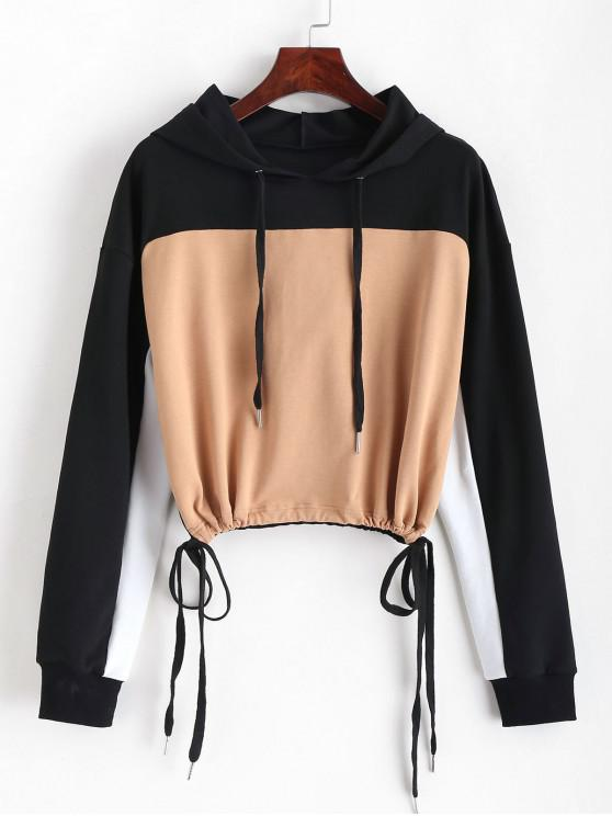 best ZAFUL Color Block Drawstring Cropped Hoodie - MULTI M