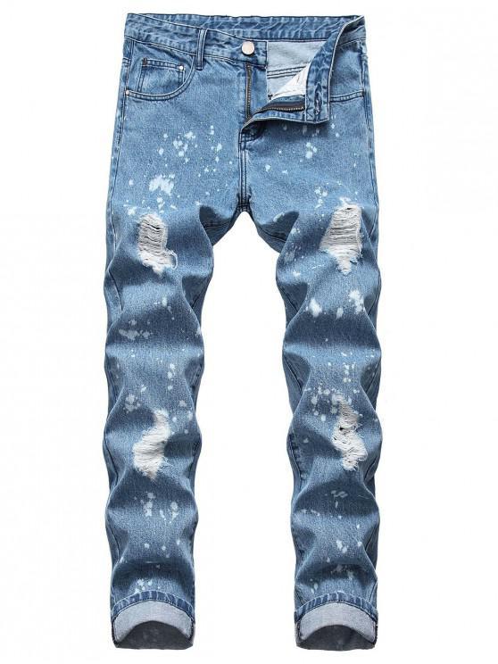 Jeans rasgados con estampado de salpicaduras de pintura de puntos largos - Azul Marino 36