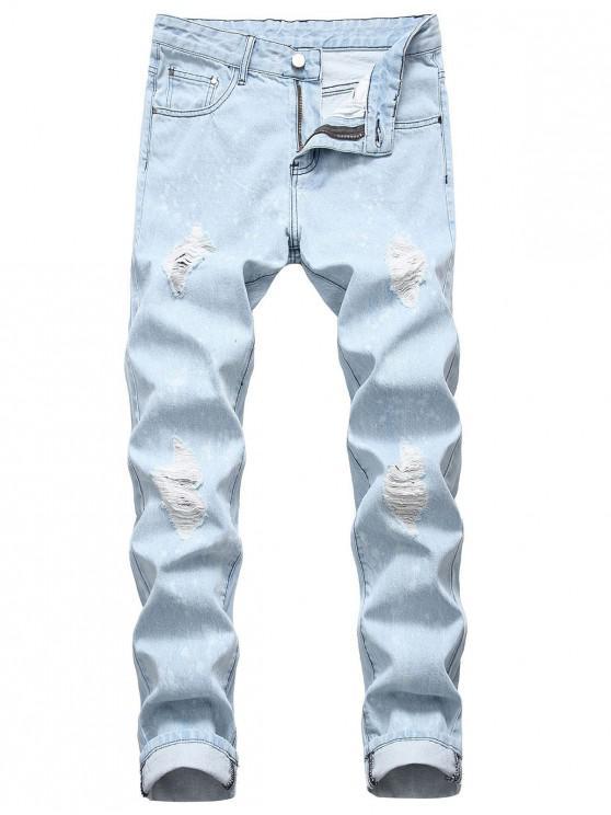 women's Long Dots Painting Splatter Print Ripped Jeans - DENIM BLUE 42