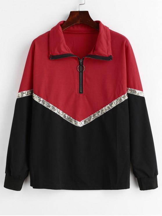 Sweat-shirt en Blocs de Couleurs à Demi-zip à Paillettes - Multi L