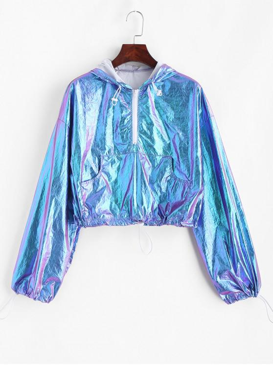 womens Half Zip Reflective Shiny Front Pocket Hoodie - MULTI L