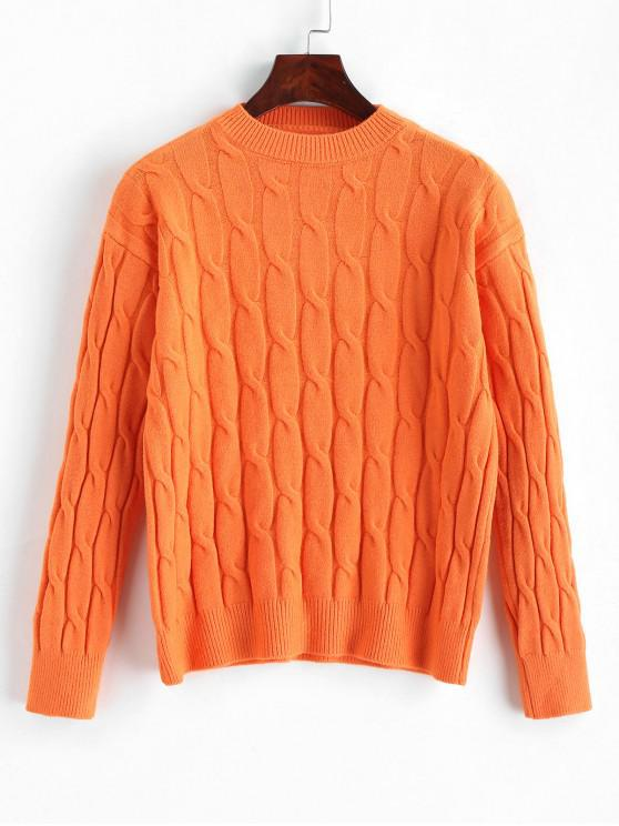 shop Solid Cable Knit Crew Neck Sweater - PUMPKIN ORANGE ONE SIZE