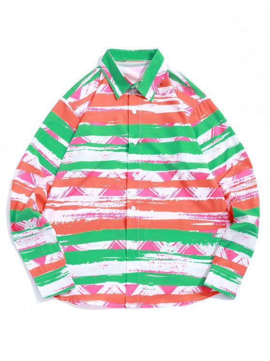 lady Color Block Striped Geometric Paint Print Vacation Shirt - MULTI S