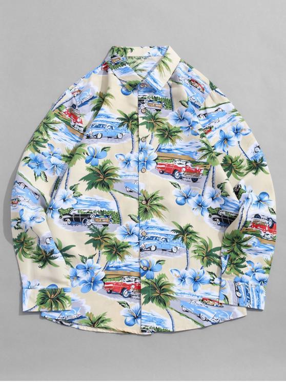 fashion Hawaii Holiday Flower Palm Tree Print Vacation Shirt - BEIGE L