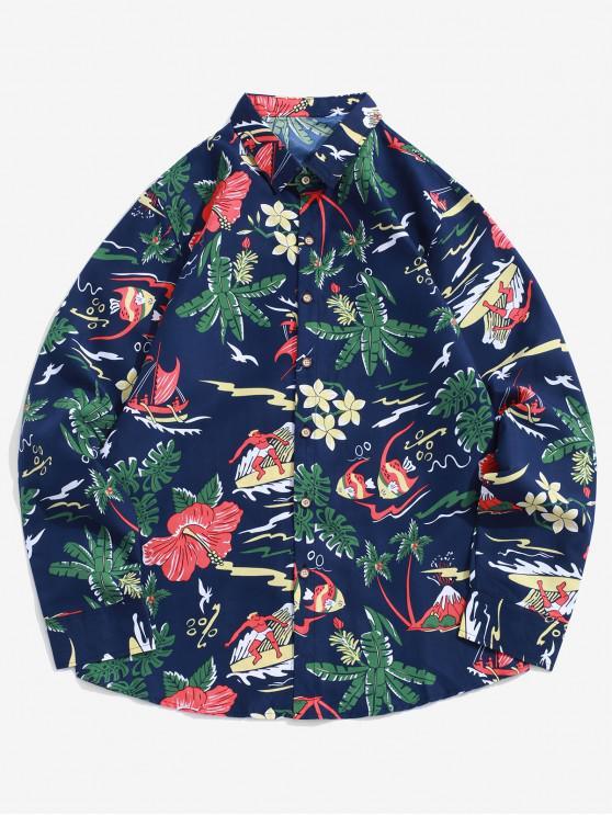 women Leaf Flower Fish Surfing Print Button Up Vacation Shirt - CADETBLUE XL