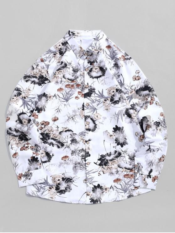 women's Chinese Ink Painting Print Long Sleeve Vacation Shirt - WHITE L