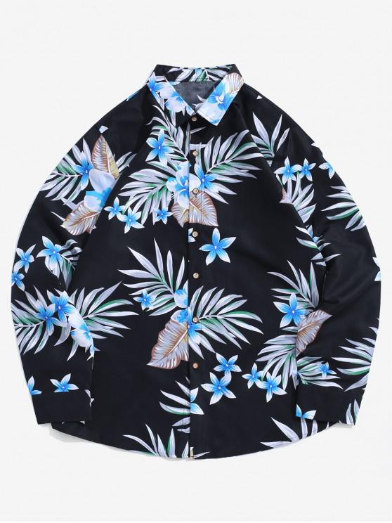 trendy Plant Flower Leaf Print Vacation Long Sleeve Shirt - BLACK 3XL