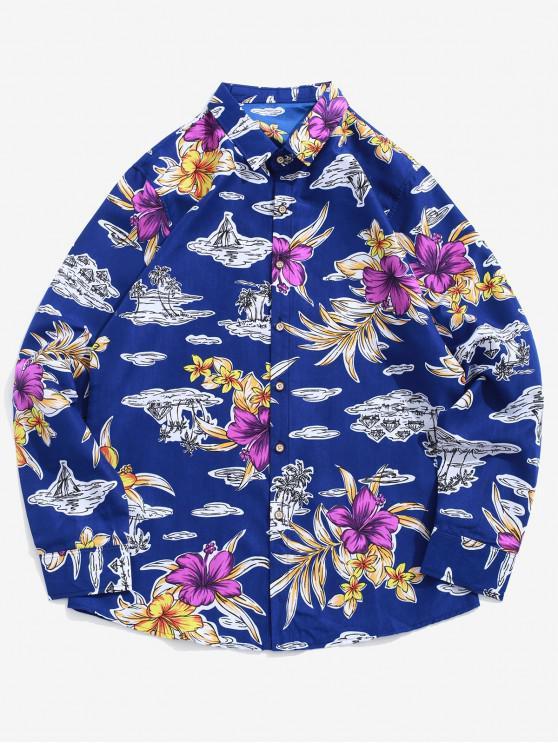 women Flower Palm Tree Print Button Up Beach Vacation Shirt - BLUE XL
