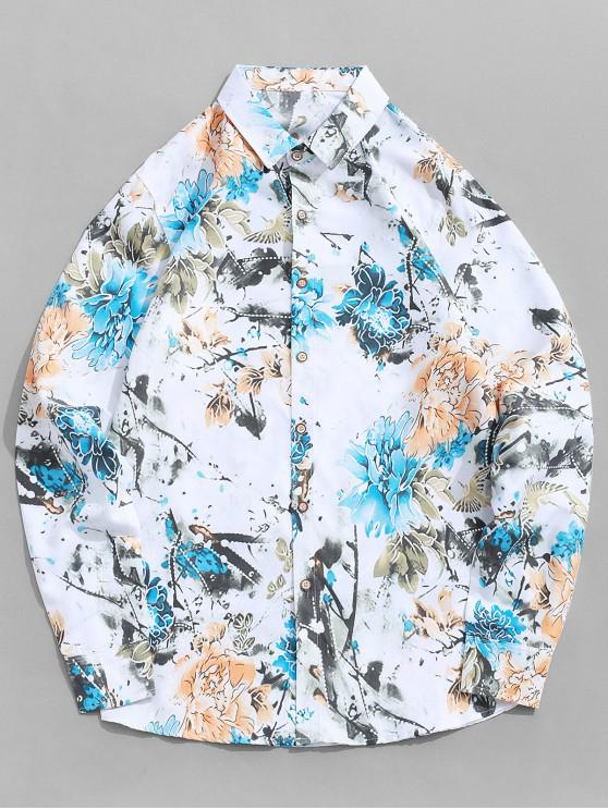 buy Long Sleeve Flower Painting Print Vacation Shirt - WHITE 4XL