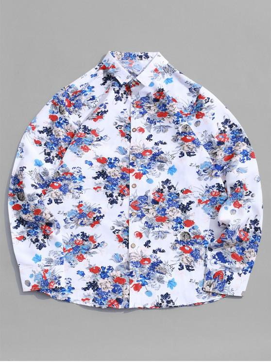 women Disty Print Button Long Sleeve Vacation Shirt - WHITE 3XL