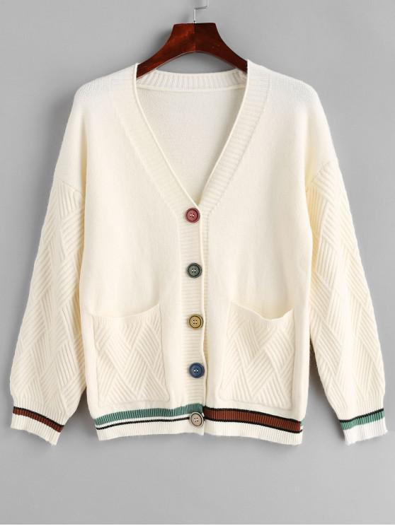 women Pockets Stripes Panel Button Up Cardigan - WARM WHITE ONE SIZE