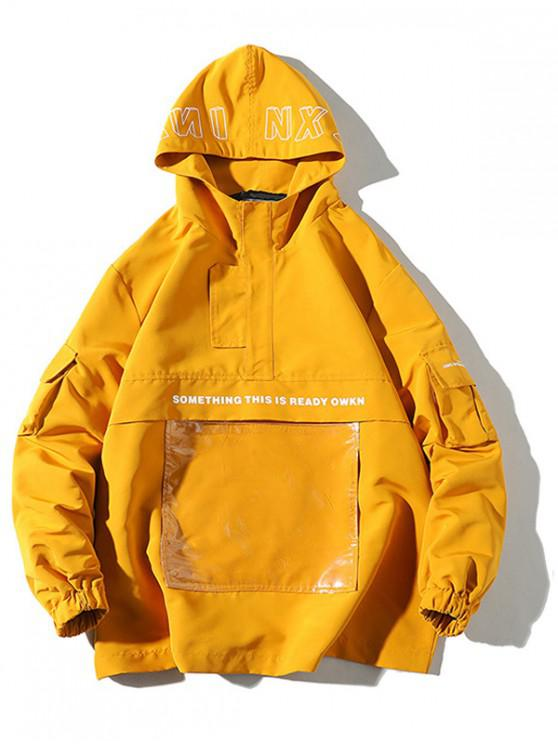 shop Letter Graphic Print Transparent Pocket Hoodie - YELLOW 3XL
