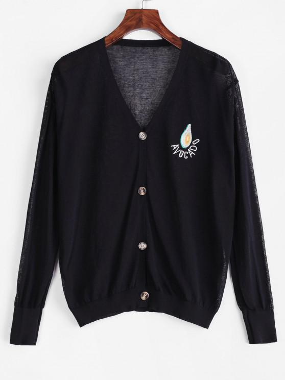 womens V Neck Vitamin Fruit Embroidered Button Up Cardigan - BLACK ONE SIZE