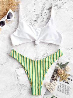 ZAFUL Brazilian Flag Print Contrast Striped Knot Bikini Set - Multi-b S