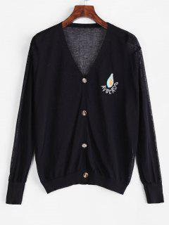 V Neck Vitamin Fruit Embroidered Button Up Cardigan - Black