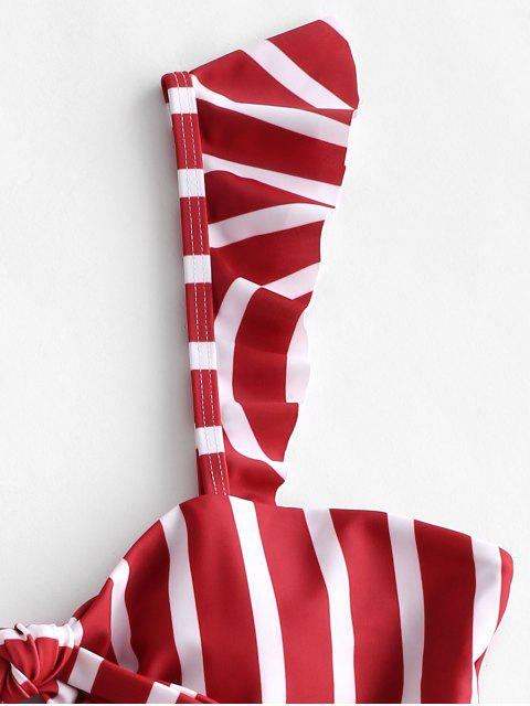 ZAFUL Ruffle Knot Striped Bañador de una pieza - Rojo Lava S Mobile