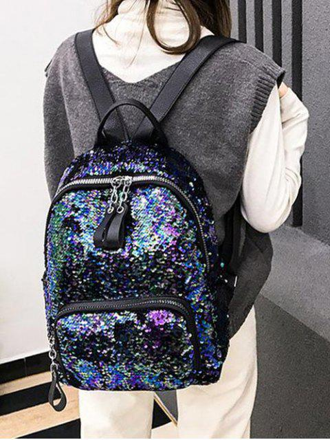 latest Colorful Sequin Zip Backpack - LAPIS BLUE  Mobile