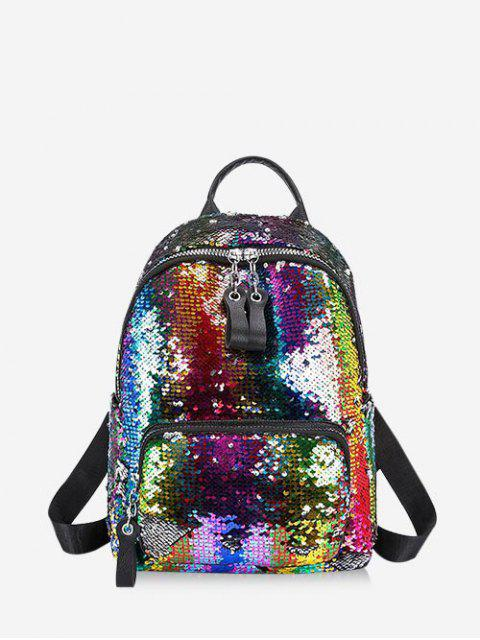 chic Sparkle Flap Sequin Small Backpack - MULTI  Mobile