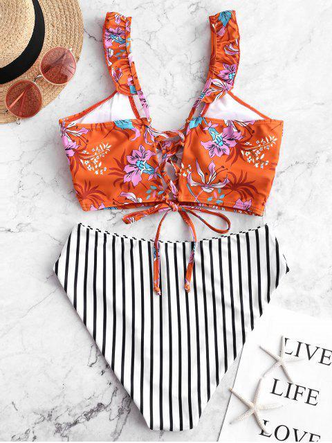 ZAFUL Lace Up Striped Floral Ruffles Tankini traje de baño - Moho S Mobile