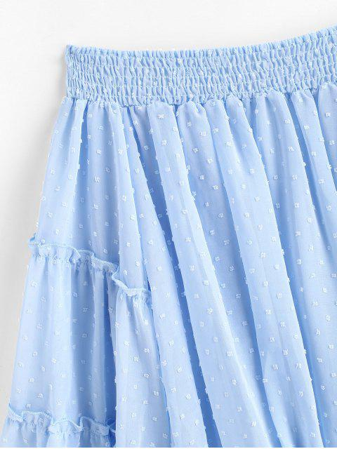 women's Off Shoulder Swiss Dot Smocked Blouse - LIGHT BLUE M Mobile