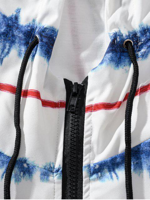 best Striped Painting Print Raglan Sleeve Hooded Jacket - WHITE M Mobile