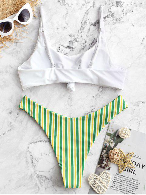 shop ZAFUL Brazilian Flag Print Contrast Striped Knot Bikini Set - MULTI-B S Mobile