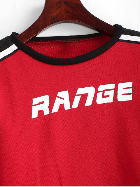 buy Range Graphic Stripes Panel Cropped Sweatshirt - RED L Mobile