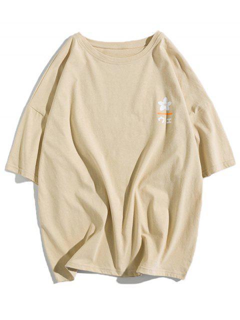 T-shirt Fleur Lettre Graphique Imprimée à Goutte Epaule - Kaki Léger 2XL Mobile