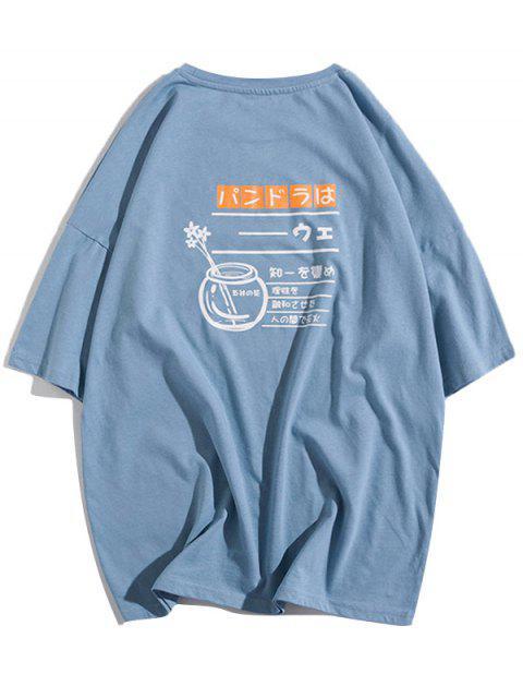 Camiseta con estampado gráfico de letras de botellas de flores - Azul Claro S Mobile