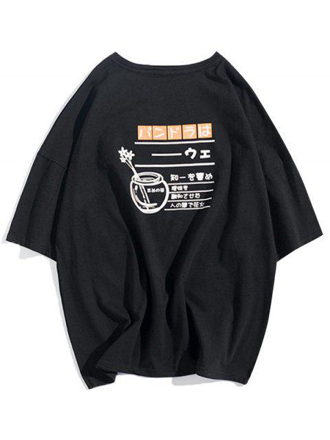 T-shirt Fleur Lettre Graphique Imprimée à Goutte Epaule - Noir S Mobile
