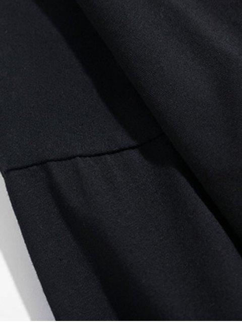 花瓶字母圖形打印掉落肩T卹 - 黑色 2XL Mobile